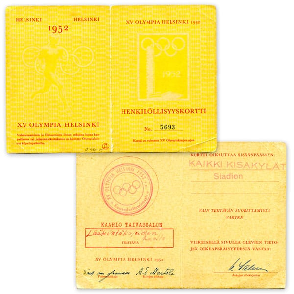 Helsinki Olympic Games 1952 Identity card The Sports Museum of Finland