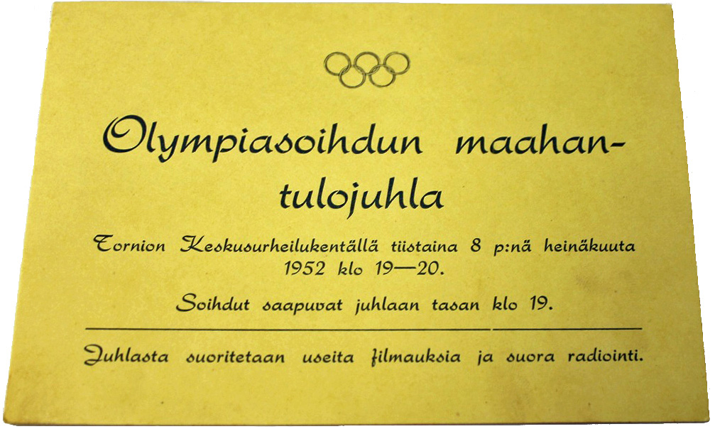 Helsinki Olympic Games 1952 Invitation card The Sports Museum of Finland