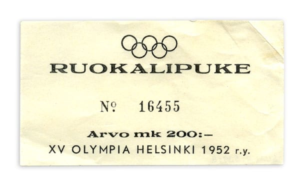 Helsinki Olympic Games 1952 Food coupon The Sports Museum of Finland