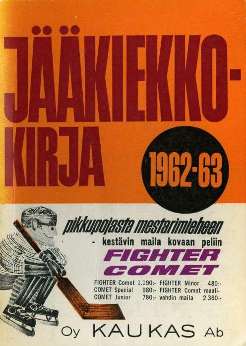 Jääkiekkokirja 1962-63 kansi. Urheilumuseo.