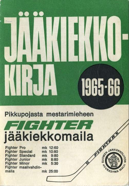 Jääkiekkokirja 1965-66 kansi. Urheilumuseo.