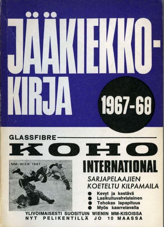 Jääkiekkokirja 1967-68 kansi. Urheilumuseo.