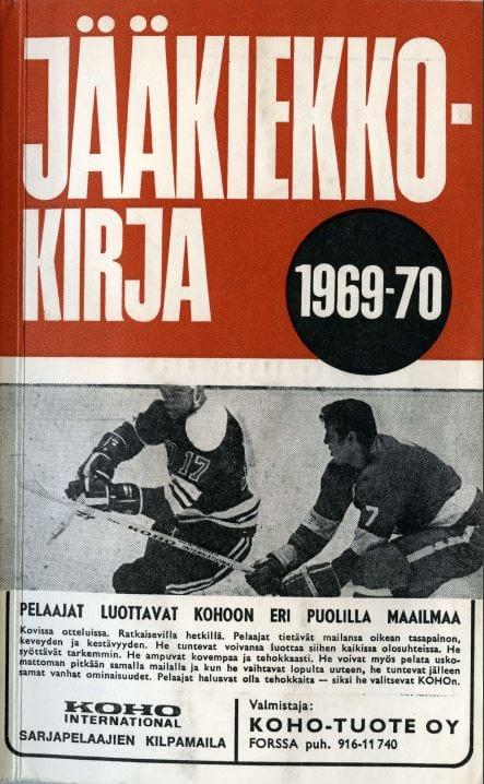 Jääkiekkokirja 1969-70 kansi. Urheilumuseo.