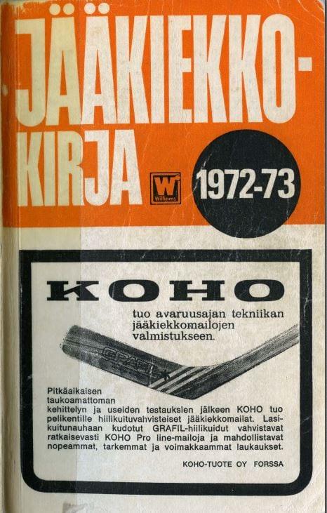 Jääkiekkokirja 1972-73 kansi. Urheilumuseo.
