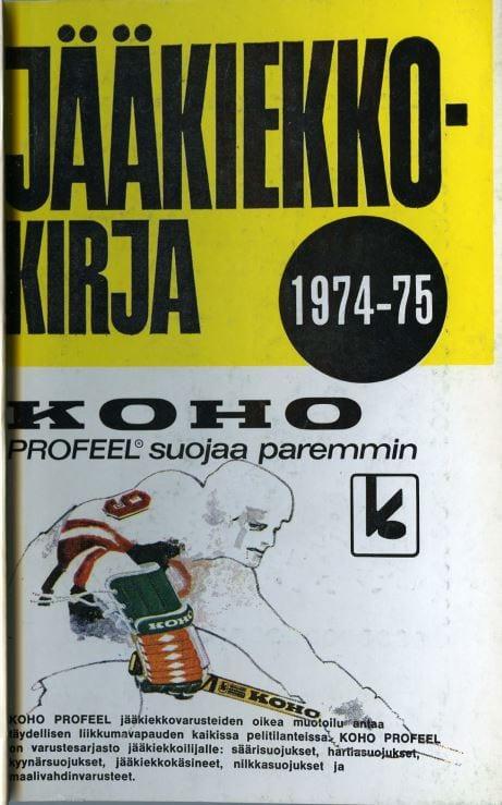 Jääkiekkokirja 1974-75 kansi. Urheilumuseo.