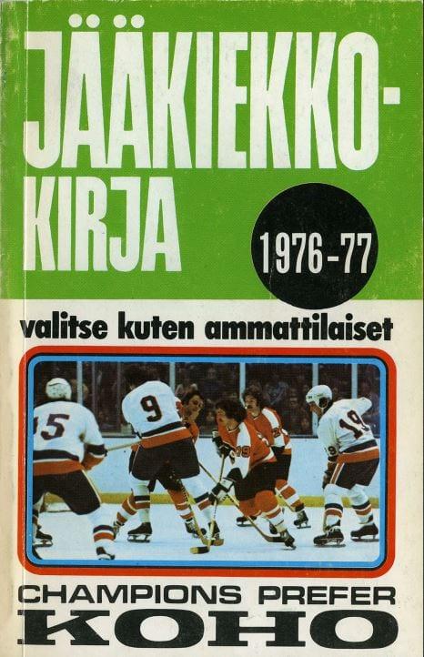 Jääkiekkokirja 1976-77 kansi. Urheilumuseo.
