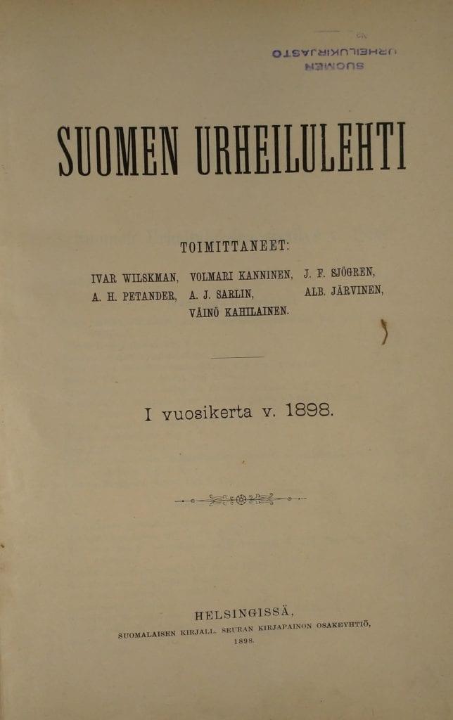 Suomen Urheilulehti 1/1898 kansi. Urheilumuseo.