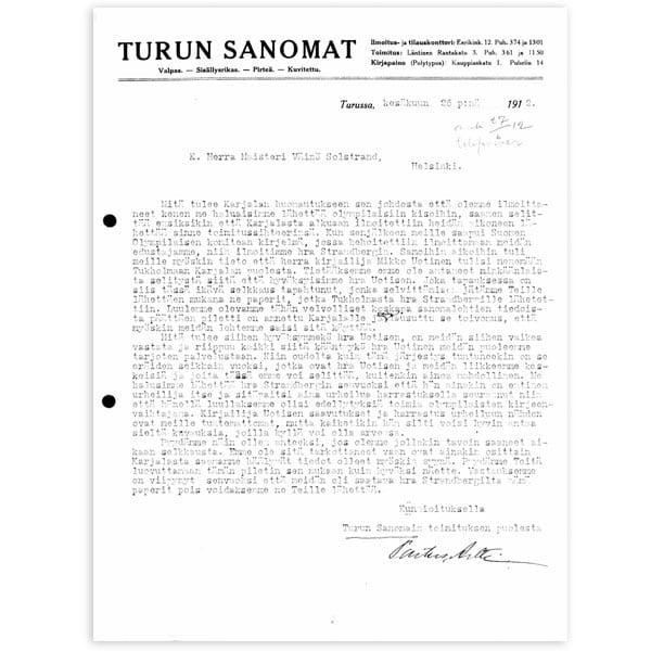 Stockholm-1912_Letter of Verner Björk