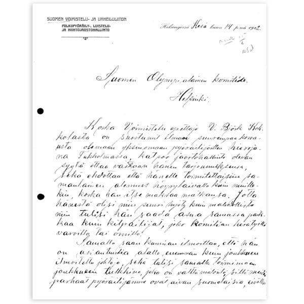 Stockholm-1912_Letter from Verner Björk