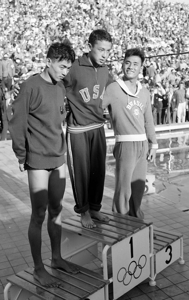 The medal ceremony of men's 1,500 metres freestyle swimming