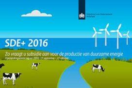 Extra geld SDE+ najaar 2016 beschikbaar