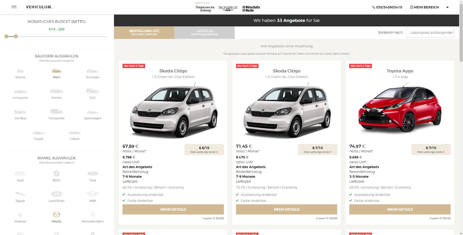 Vehiculum Erfahrungen Fahrzeugauswahl
