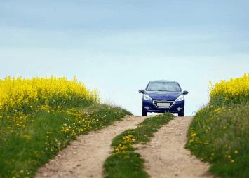 auto tien päässä pellon keskellä