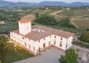 Villa Corsini a Mezzomonte veduta aerea birdseye view Tuscan Villa