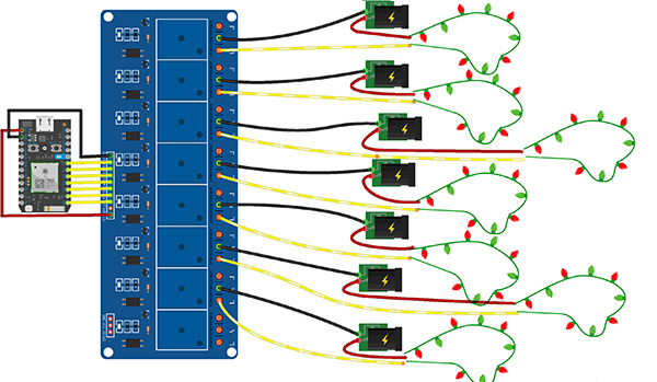 fritzing diagram of the pin connections