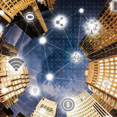 Bürohäuser mit IoT-Symbolen