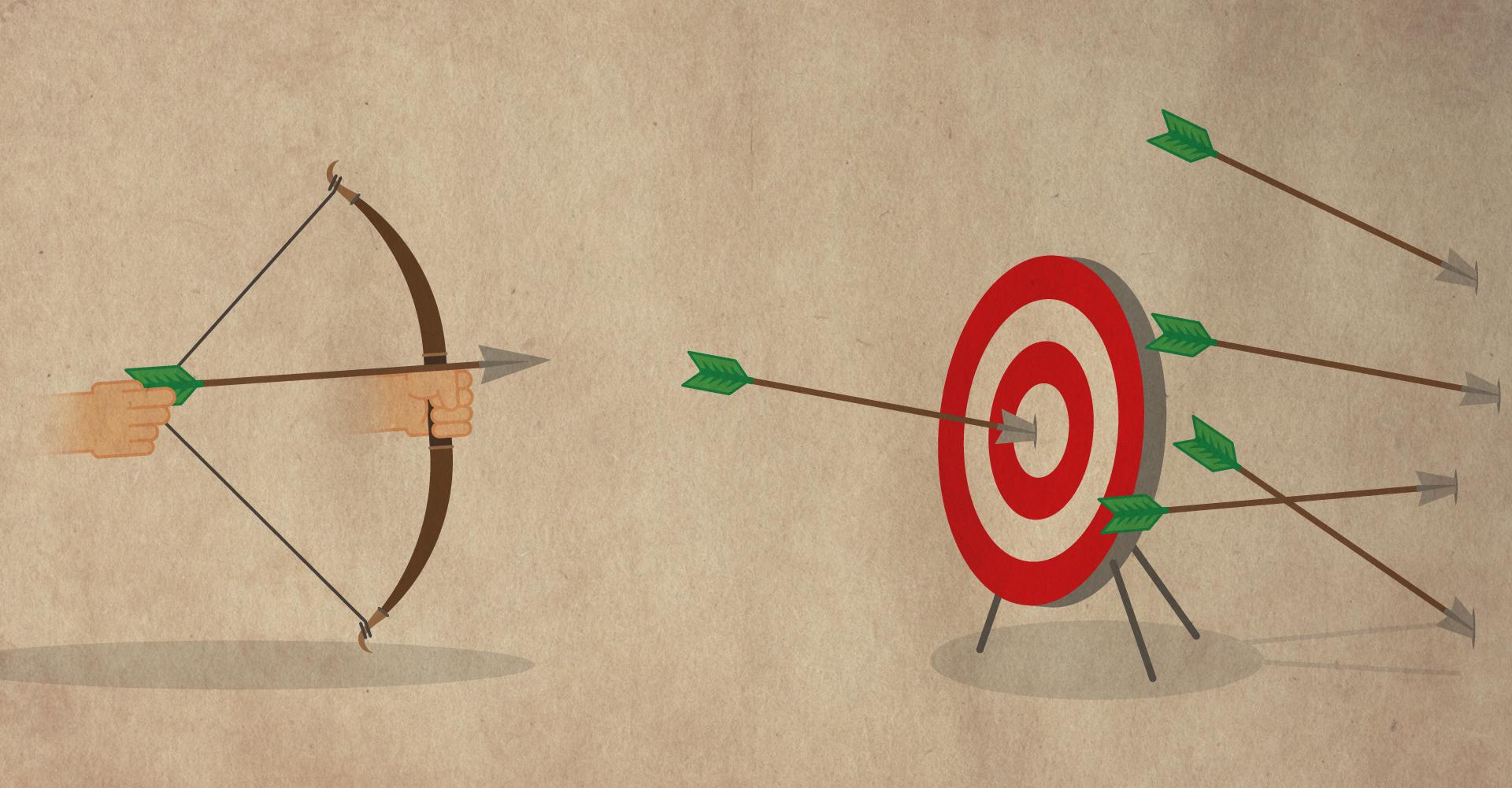 Schaubild mit einem Bogenschützen zum Thema Streuverlusten
