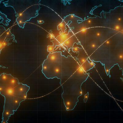 Eine Weltkarte mit Daten-Knotenpunkten