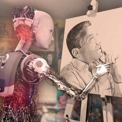 Ein Roboter malt im Atelier ein Bild