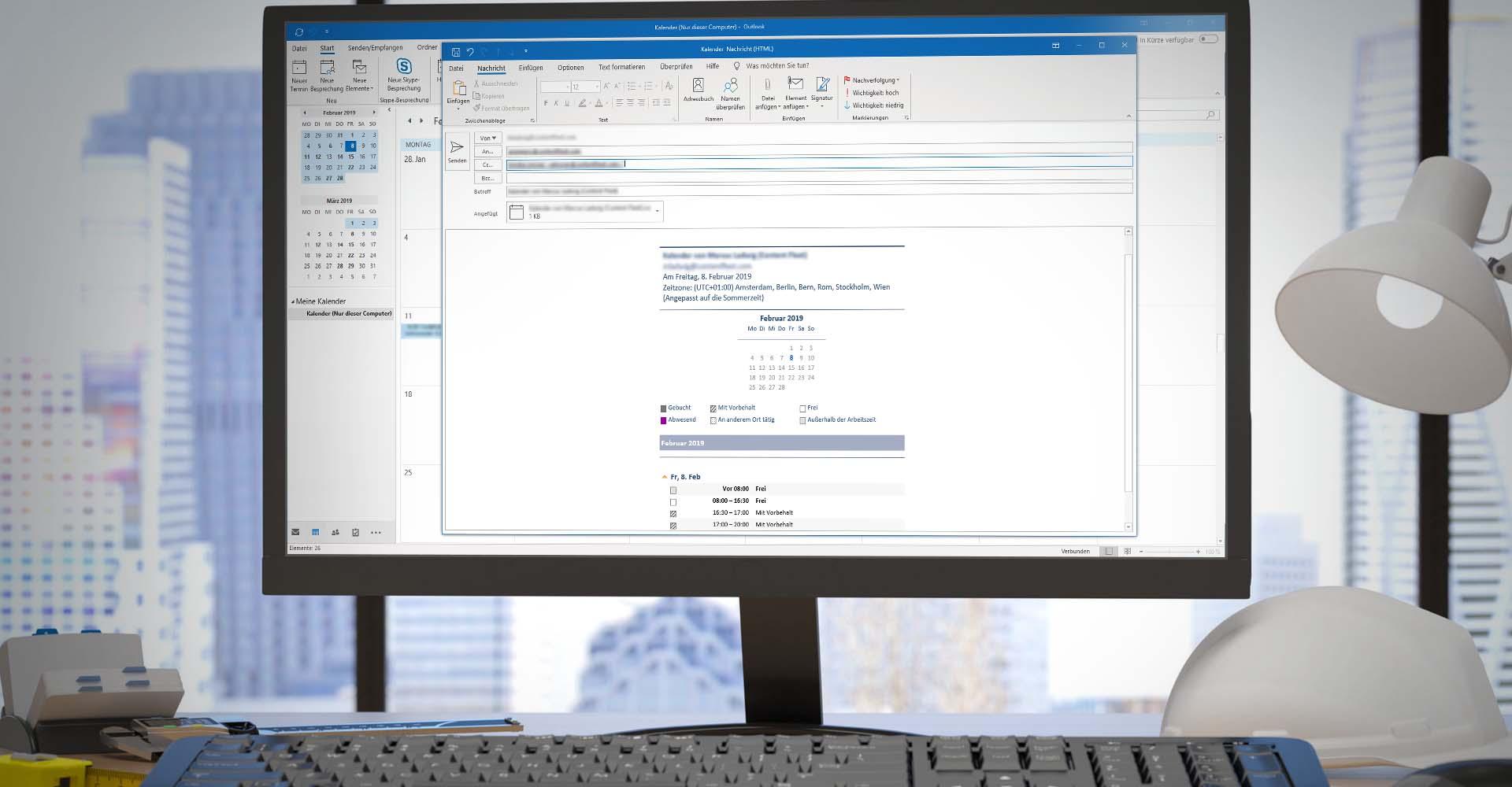 Ein Bildschirm zeigt die Kalenderfreigabe in Office 365 ohne Exchange-Anbindung