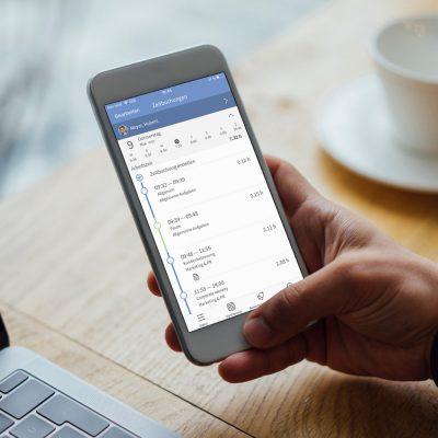 Screenshot der Zeiterfassungs-App auf einem Smartphone