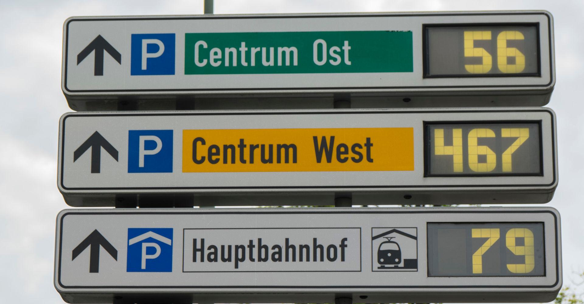 Parkleitsystem in einer Großstadt