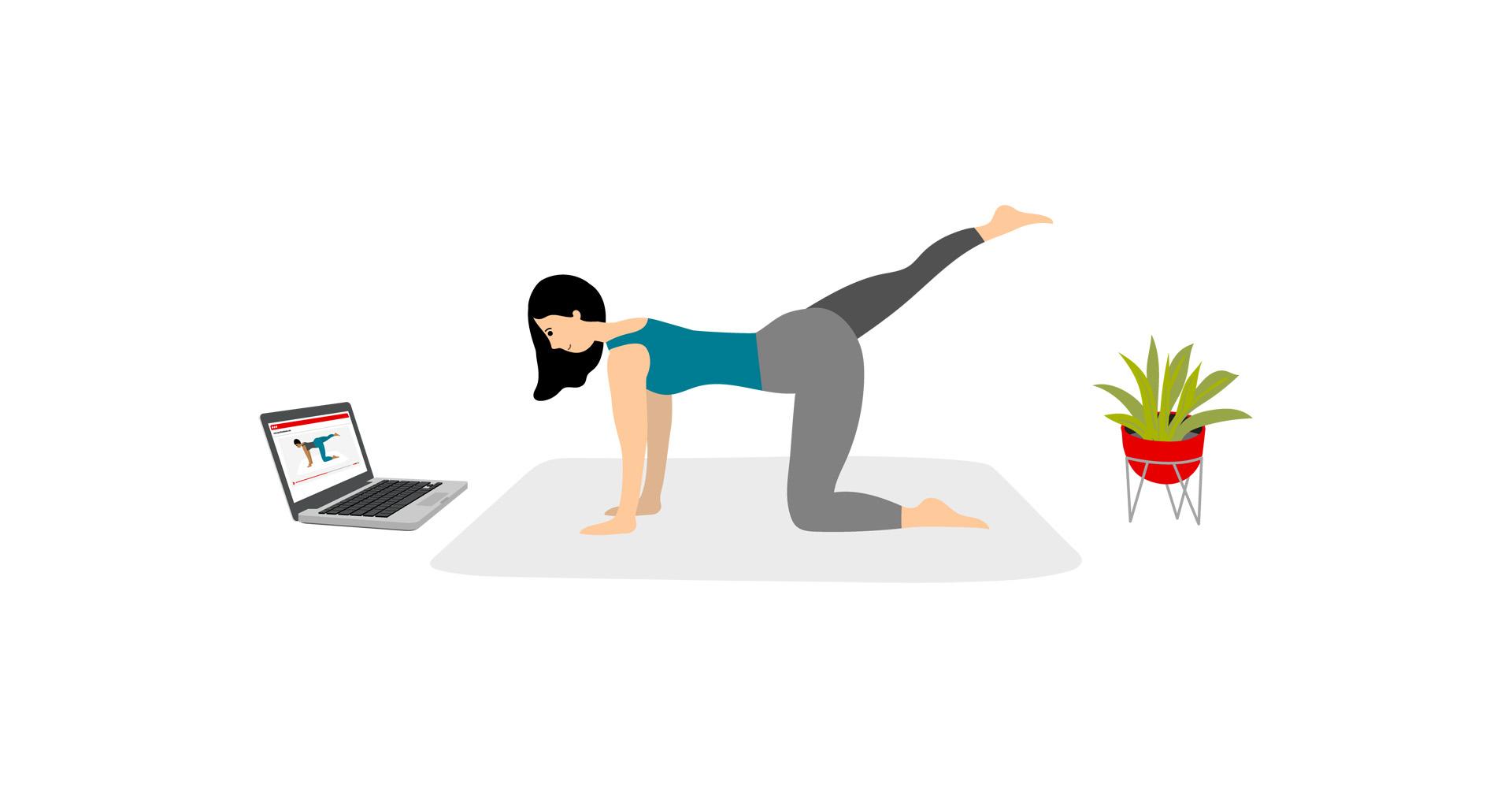 Junge Frau treibt Sport am Laptop grafische Darstellung
