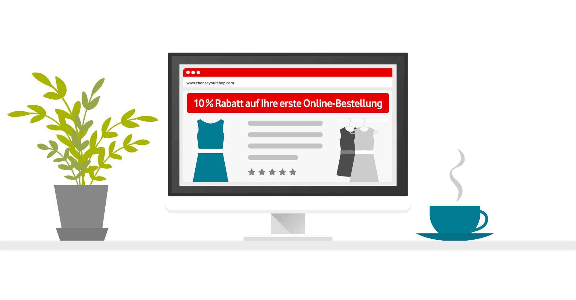 Rabattaktion auf einer Website am Laptop - Grafik