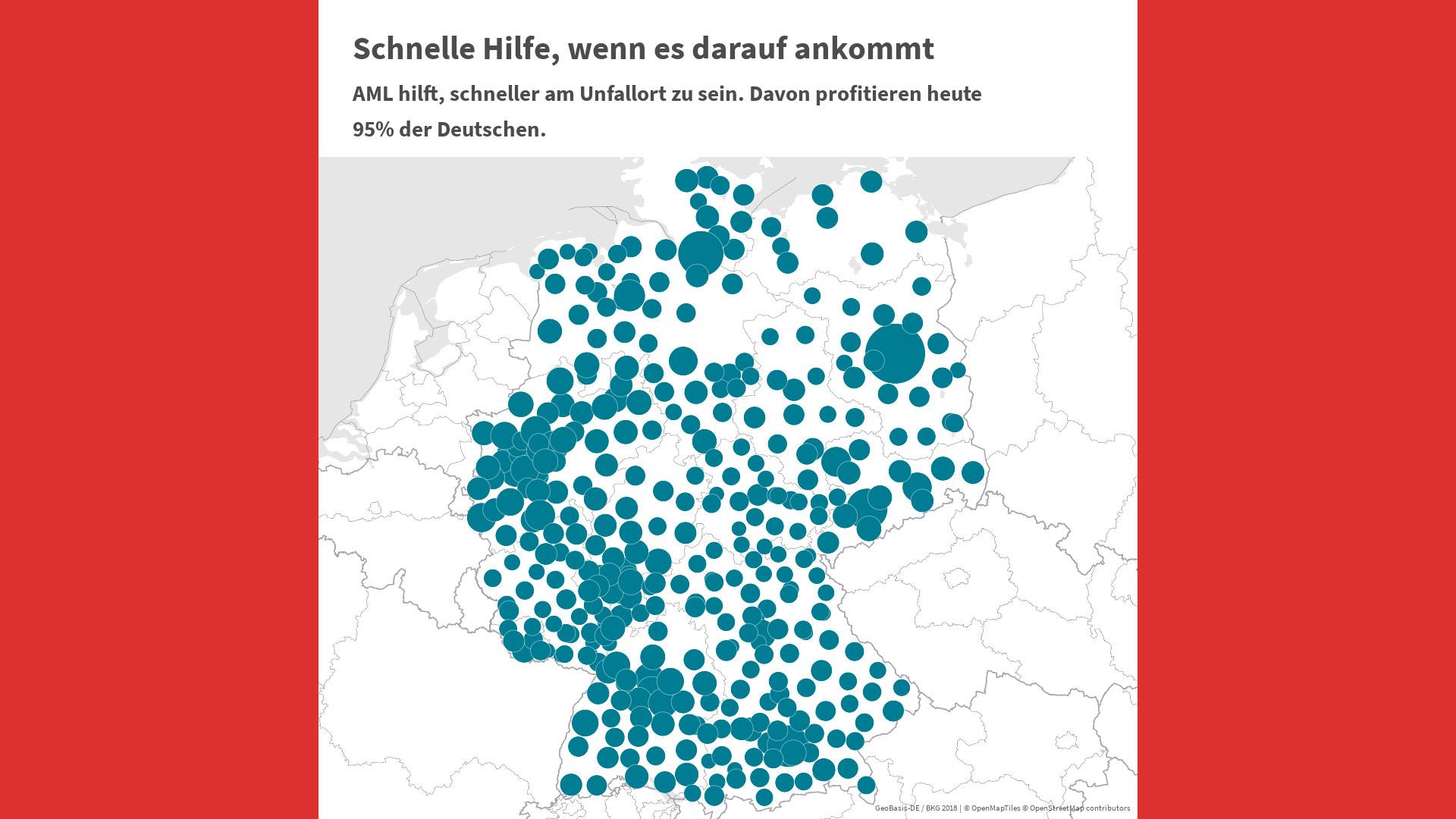 Auf einer Deutschlandkarte ist markiert, wo die Mobilfunk-Technologie AML eingesetzt wird.