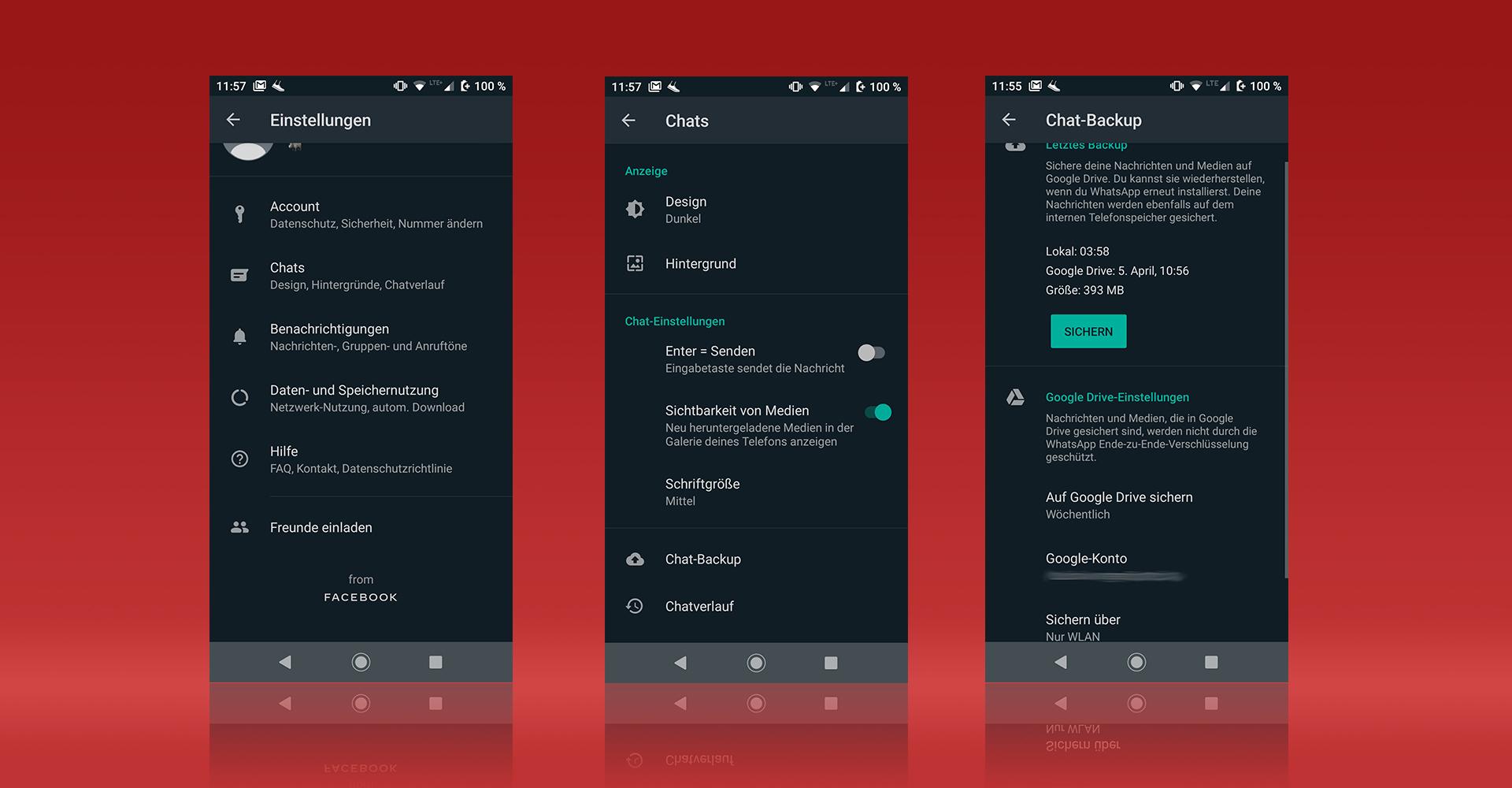 Screenshots von WhatsApp unter Android zeigen den Weg zur Backup-Funktion