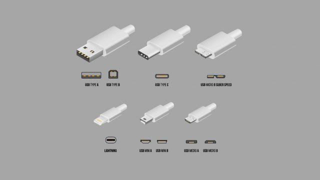 Die unterschiedlichen USB-Ports inklusive USB Typ C.