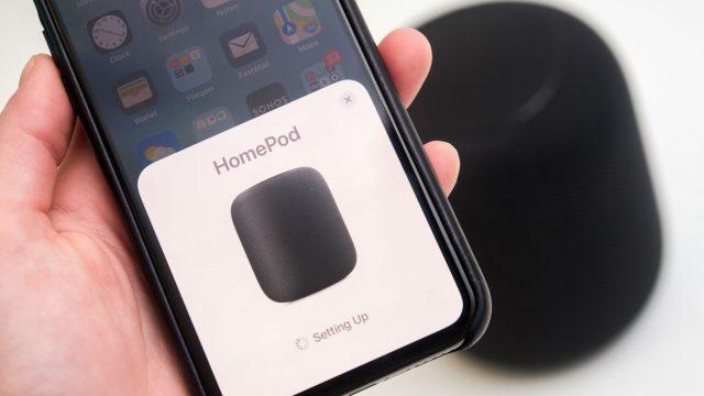 Den HomePod über das iPhone einrichten.