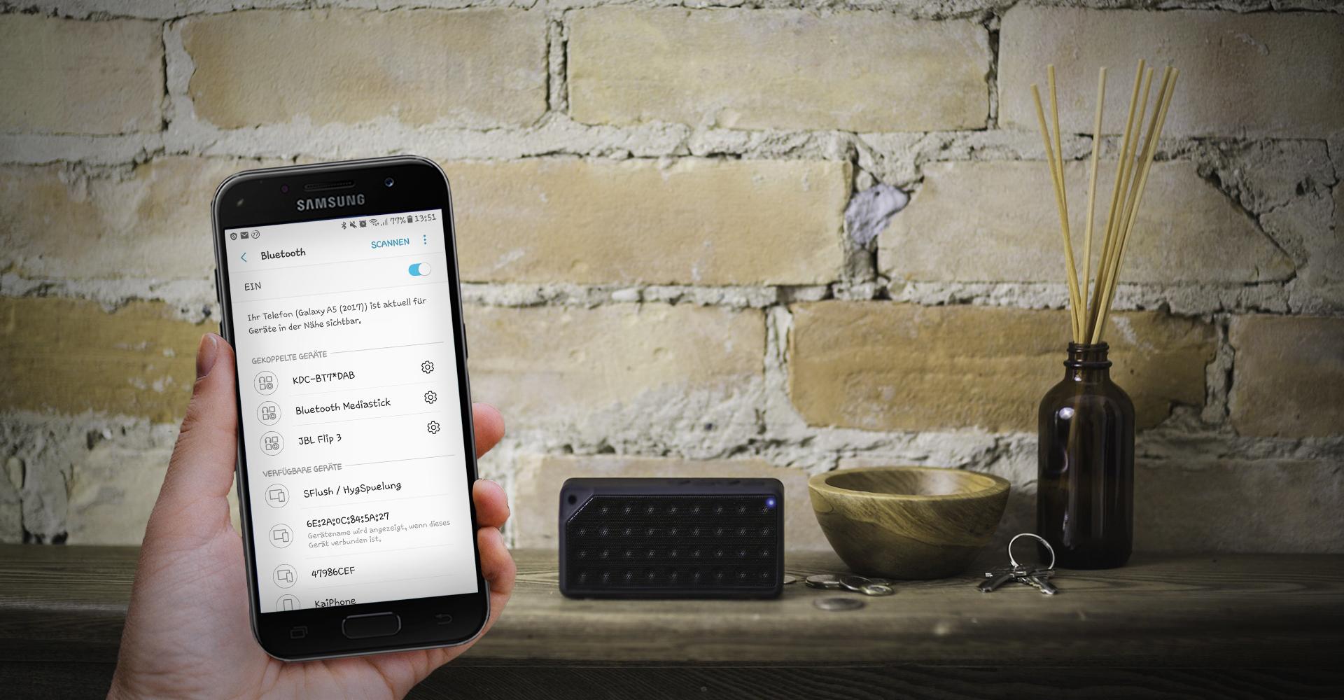 Screenshot der Bluetooth-Einstellungen auf einem Samsung Galaxy A5 (2017)