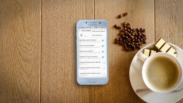 Screenshot der Einstellungen für das Google-Konto auf einem Samsung-Gerät.
