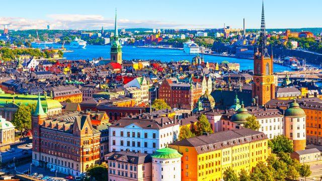 Stockholmer Altstadt im Sonnenschein