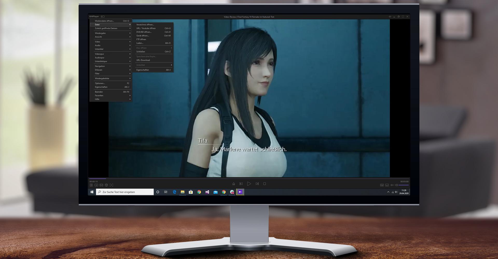 KMPlayer 64X gibt unter Windows 10 Youtube-Video wieder und zeigt Wiedergabe-Menü