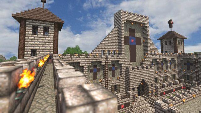 Ein selbst erschaffene Burg in Minecraft auf der Nintendo Switch