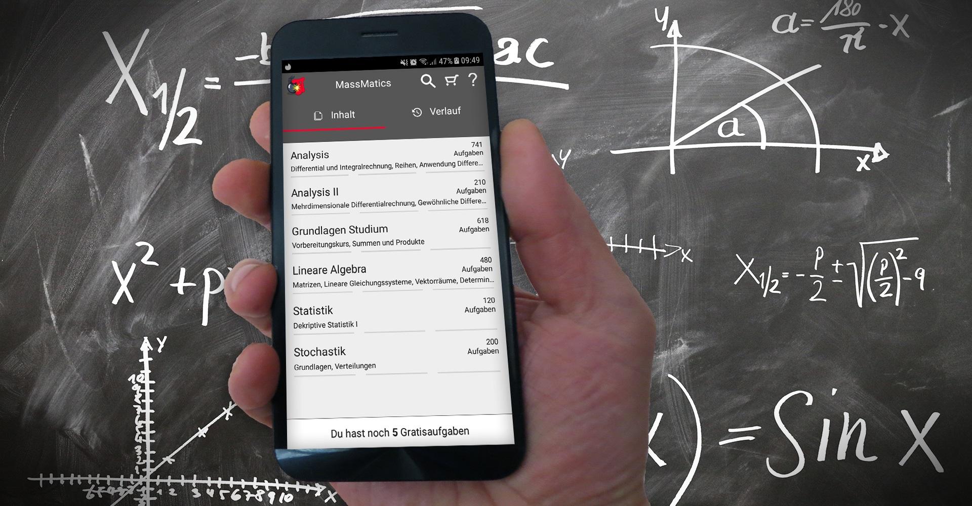 MassMatics: Mathe-App auf einem Smartphone