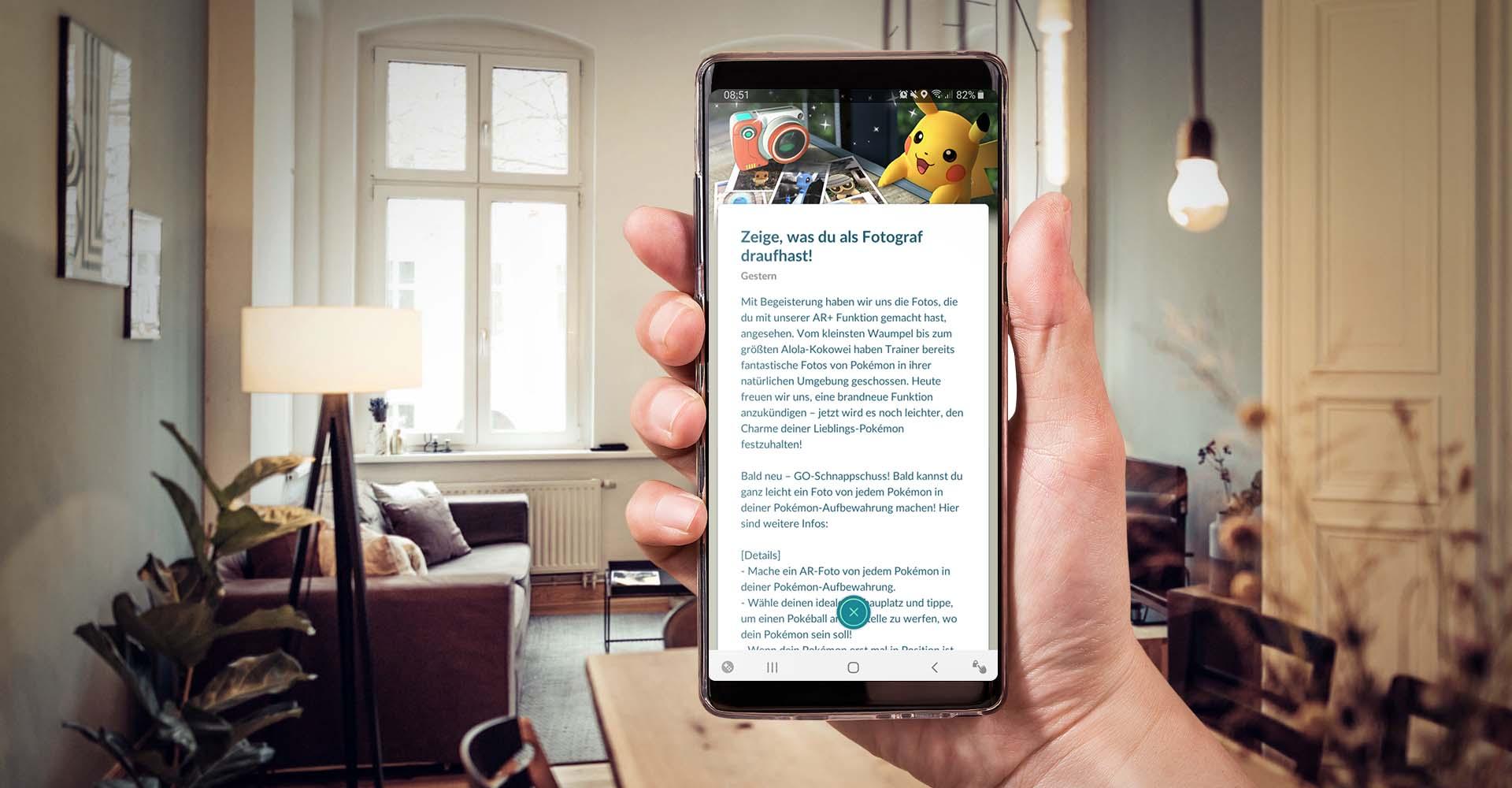 Ankündigung in der Pokémon-Go-App.