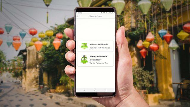 Vietnamesisch mit Duolingo am Smartphone lernen.