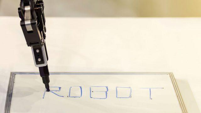 smart drawing roboter malt das wort robot