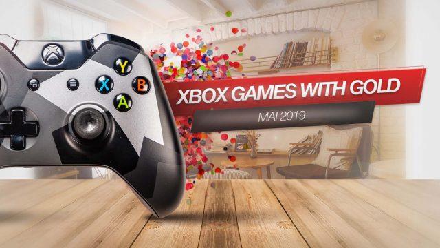 """Ein Xbox-One-Controller neben einem Banner, auf dem """"Xbox Games with Gold"""" steht."""