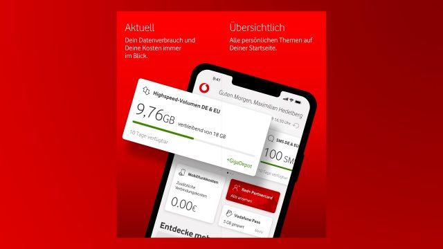 Die Startseite der MeinVodafone-App in neuem Design