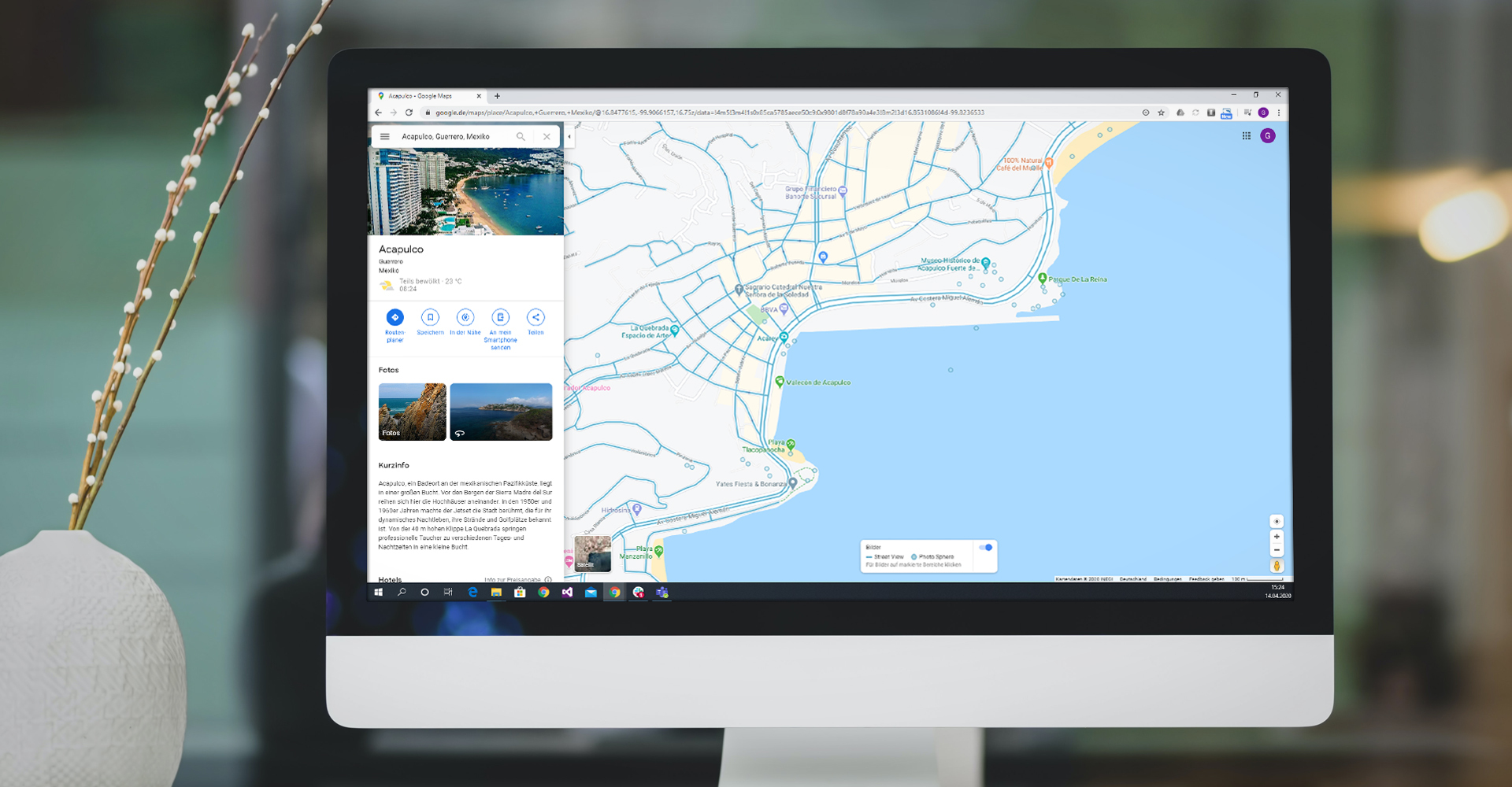 Screenshot der Street View Positionen in Google Maps Acapulco Mexiko
