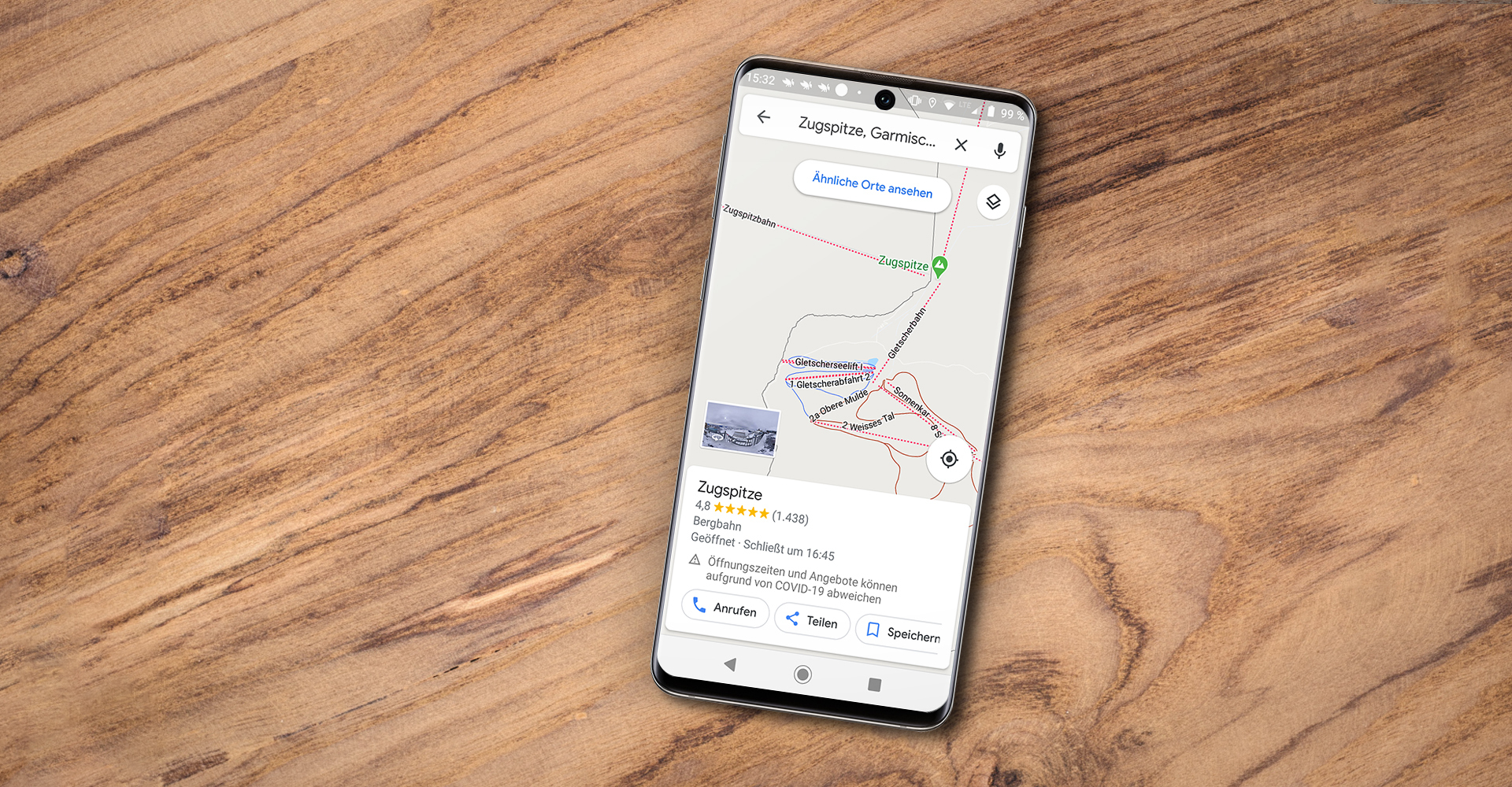 Google Maps auf Android Smartphone Zugspitze