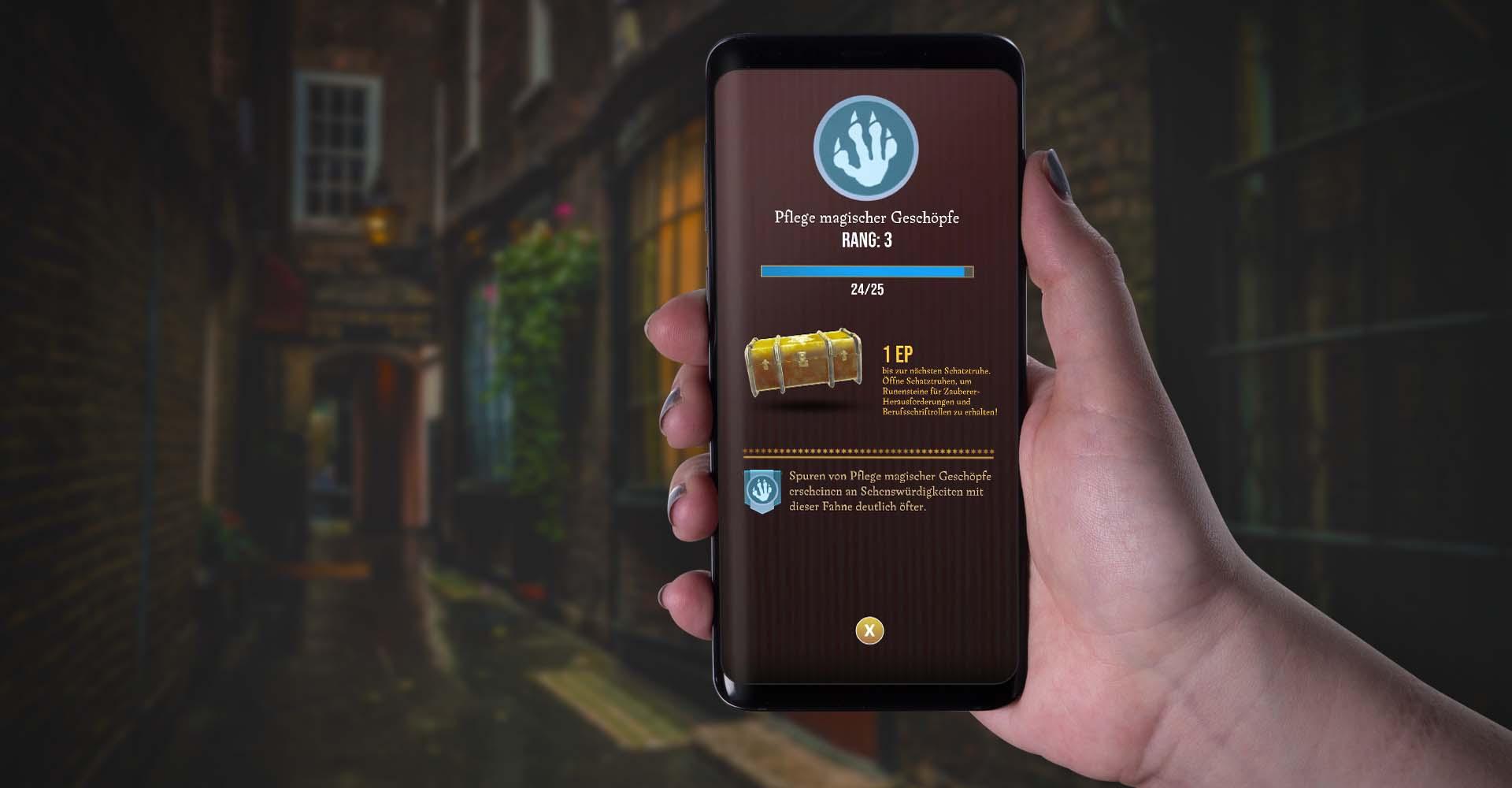 Am Smartphone in Harry Potter: Wizards Unite den Kategorie-Rang prüfen.