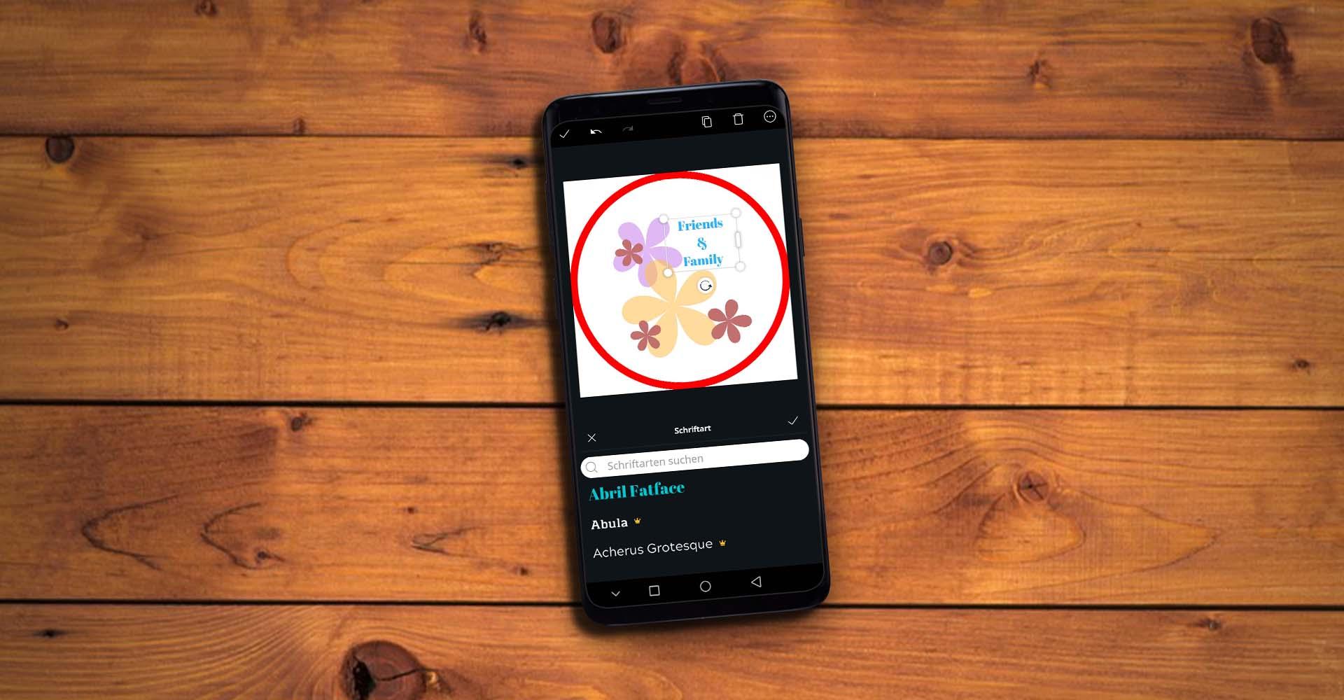 Am Smartphone in der App Canva ein Instagram-Highlight-Cover erstellen.