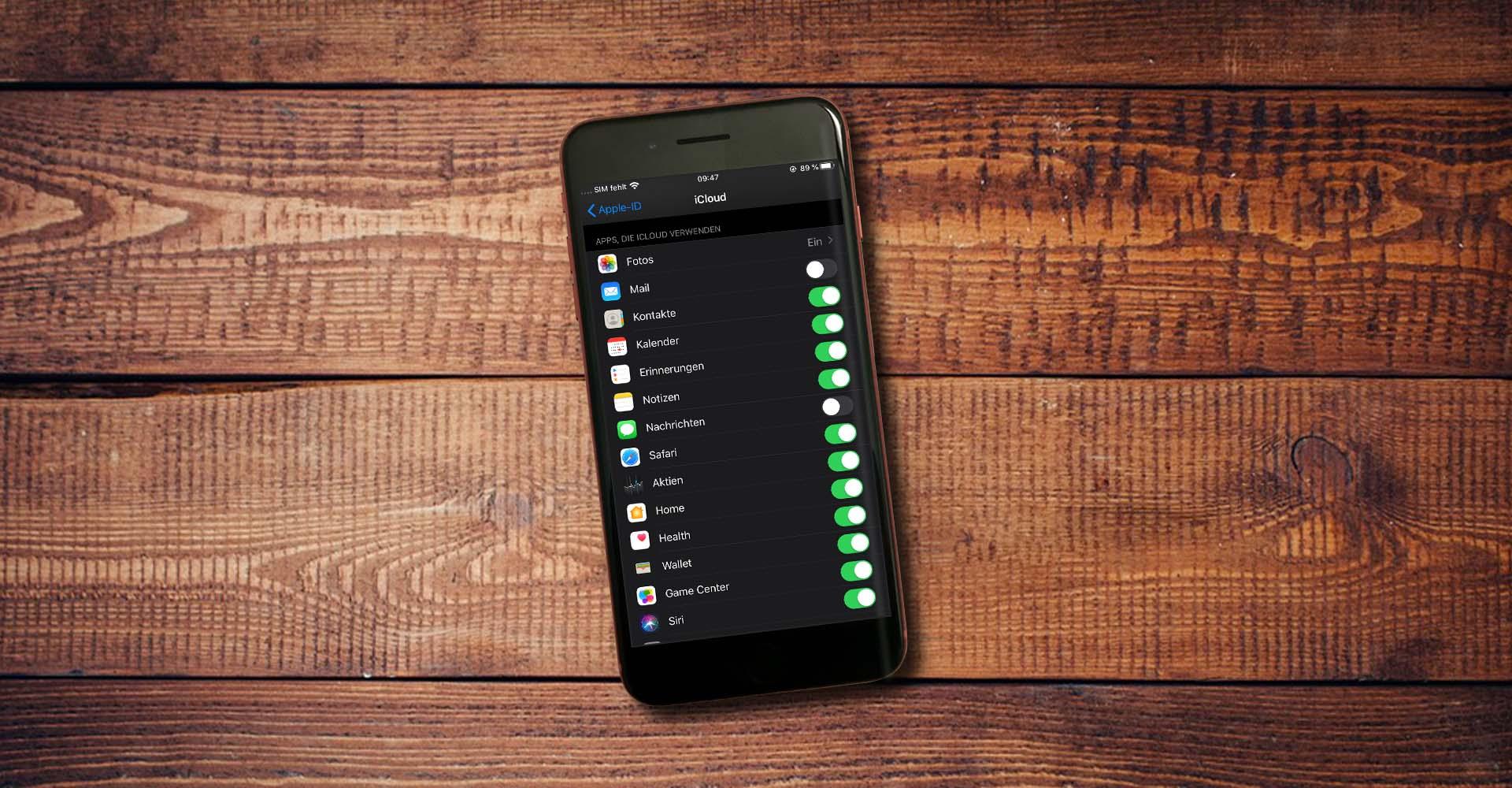 In den iOS-Einstellungen die App-Verknüpfungen mit der iCloud prüfen.