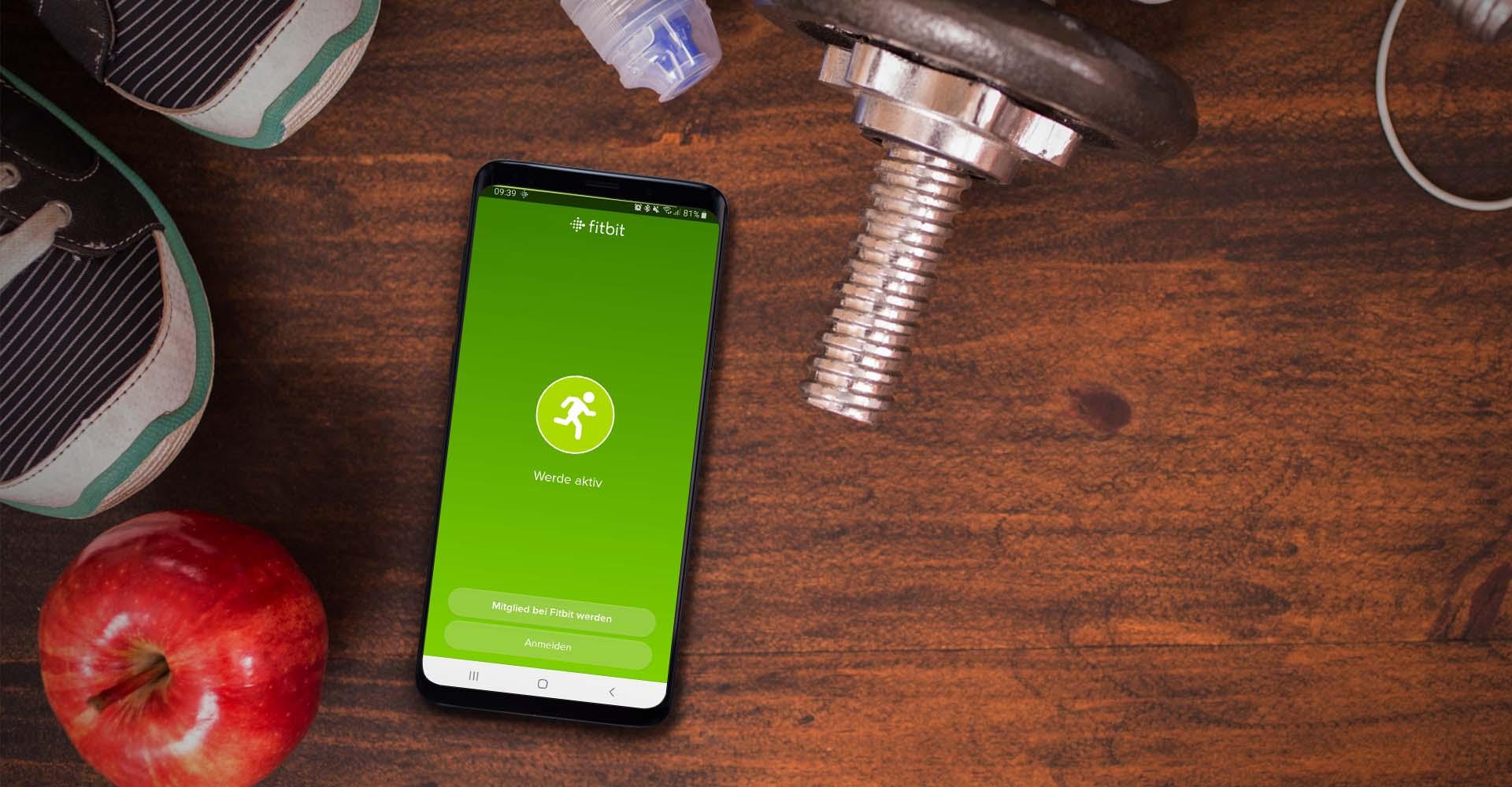 In der Fitbit-App am Samsung Galaxy S9+ anmelden.