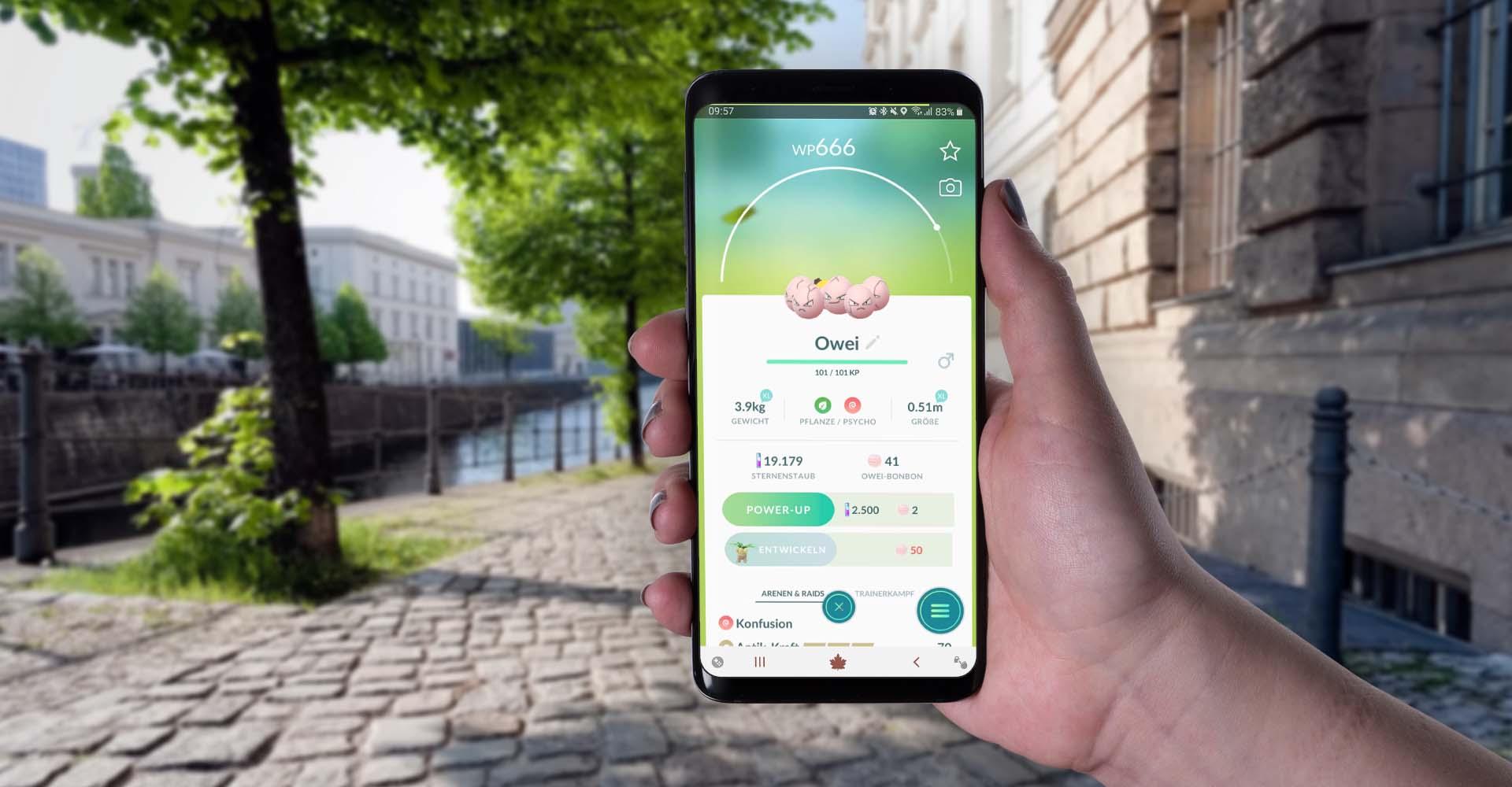 In Pokémon Go am Smartphone Owei gefangen.